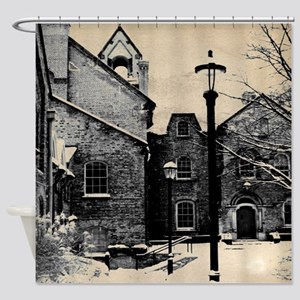 vintage church street light Shower Curtain